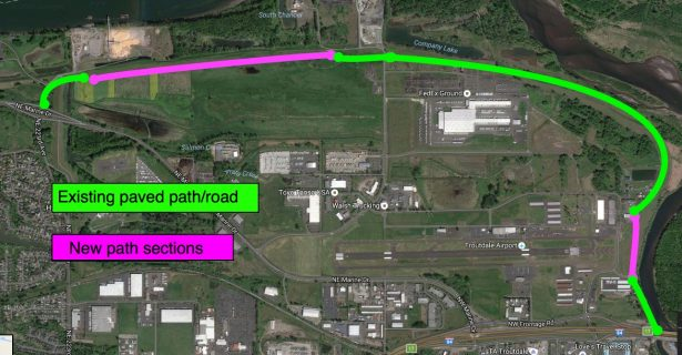 BikePortland sketch of forthcoming (purple) and existing (green) paths and roads.