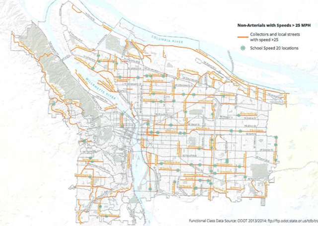 Streets eligible for alternative speed zone methodology.-Click to enlarge-(PBOT)