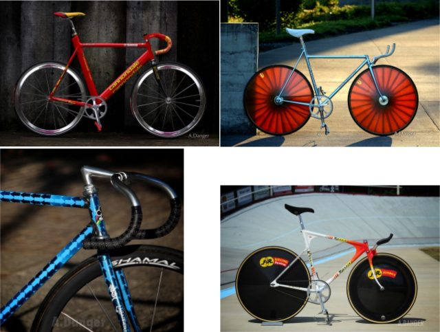 A few of the track bikes that will be at Saturday's show in Portland. (Photos: Amy Danger)