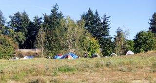 Homeless campers at Gateway Green