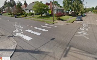 The crosswalk on Greeley at Bryant where Stanley Grochowski was hit. Bryant is a designated neighborhood greenway.