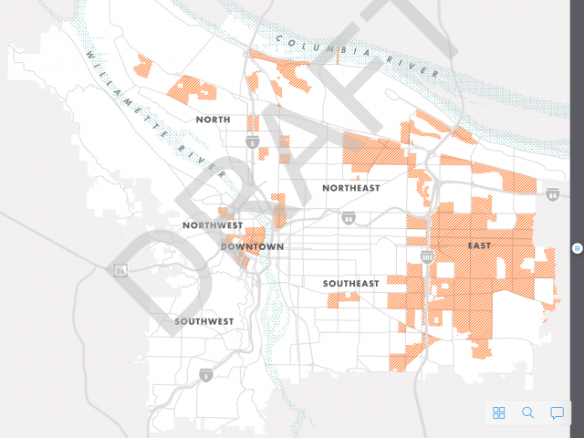 "Map of ""communities of concern"" based on TriMet's equity index."