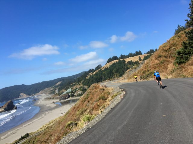 The main highway is below and to the left as we ride peacefully on Carpenterville Road.