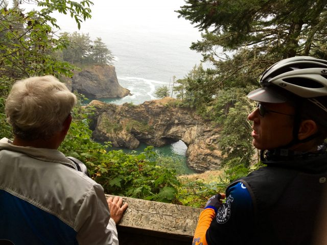 Exploring the Natural Bridges Viewpoint in the Samuel Boardman State Scenic Corridor.
