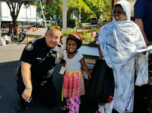 Assistant Chief Chris Uehara was one of several officers who attended the annual bike safety fiesta.(Photos: Portland Police Bureau)