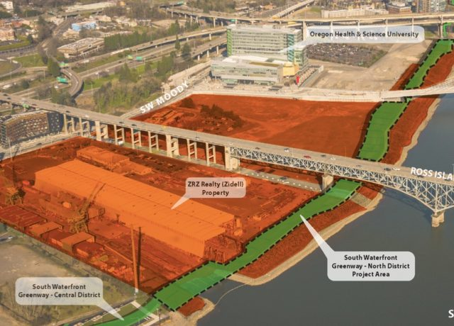 City of Portland graphic showing path location in front of Zidell property.