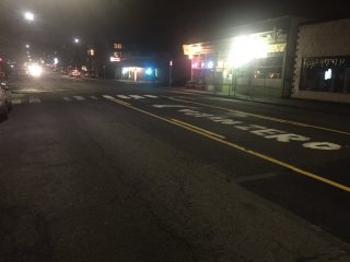 The center turn lane on Hawthorne at 43rd is now available for driving on after PBOT removed a makeshift memorial last night.(Photo: PDX Transformation/Twitter)