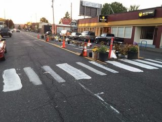 Coming soon: A permanent refuge island and crosswalk installed by the City of Portland.(Photo: Paul Jeffery)