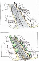 Before/after of typical cross-section on Foster Road project.