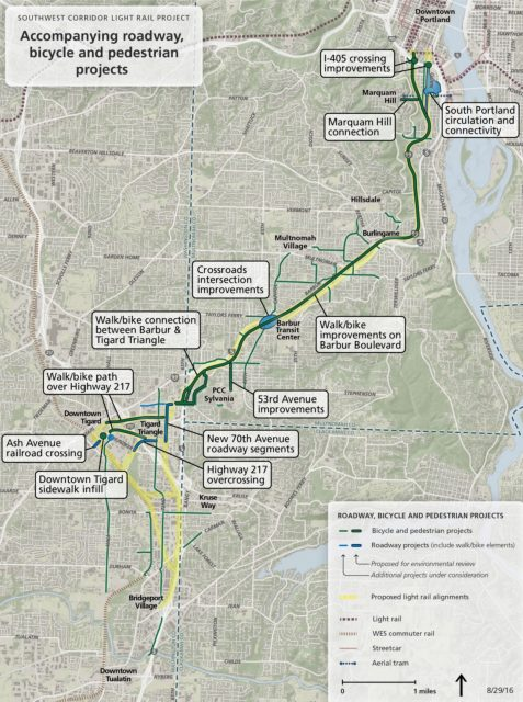 Metro map of additional bike/walk projects that could be included in SW Corridor Draft EIS.