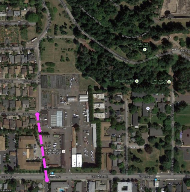 Purple line shows approximate location of proposed path. SE Division Street is at the bottom and Mt. Tabor is in the upper right.