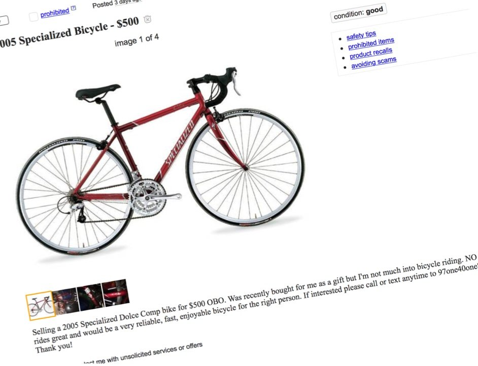 how to tell if a bike on craigslist is stolen