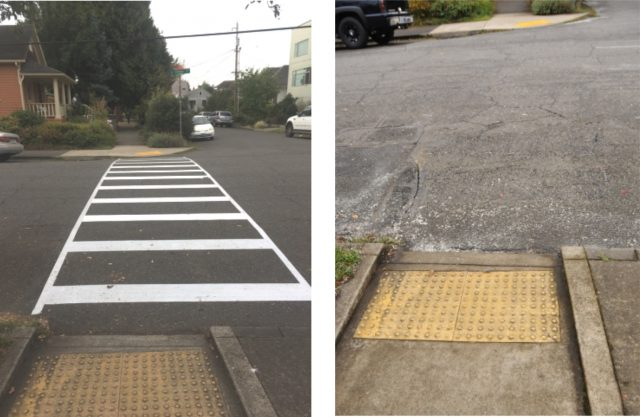 Photo on left taken September 20th by @howrad via Twitter. Photo on the right is from this morning (taken by J. Maus/BikePortland).
