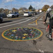 First look: Portland's new bike roundabout and two-way cycling lane on NE 21st Avenue