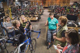 Tori Bortman holding court inside Western Bikeworks.(Photos: Gabriel Amadeus)