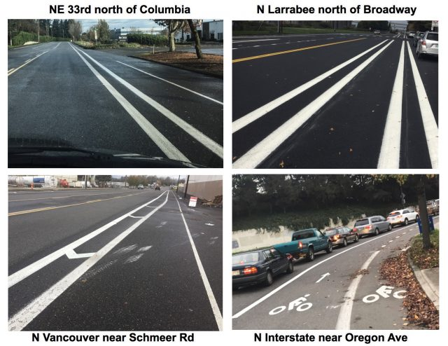 A few of the streets recently striped by PBOT to narrow standard lanes and provide more space for cycling-only lanes.(Photos: J. Maus/BikePortland)