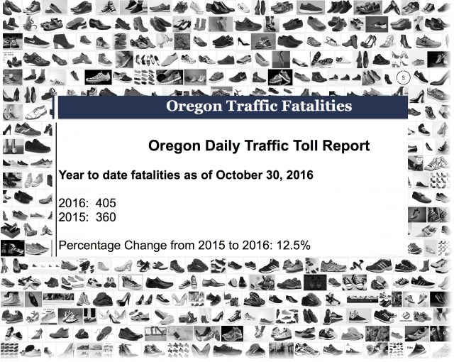 A pair of shoes for every Oregonian who died while using our roads in 2016. So far.
