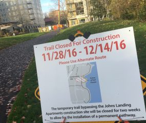 Willamette Greenway path closure through December 14th.(Photos: J. Maus/BikePortland)