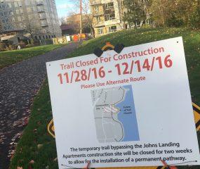 Willamette Greenway path closure through December 14th.(Photos: J. Maus/BikePortland)