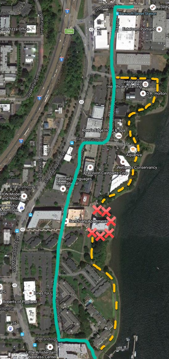 Green: Suggested detour Red: Closure Yellow: Greenway path (Graphic: BikePortland)