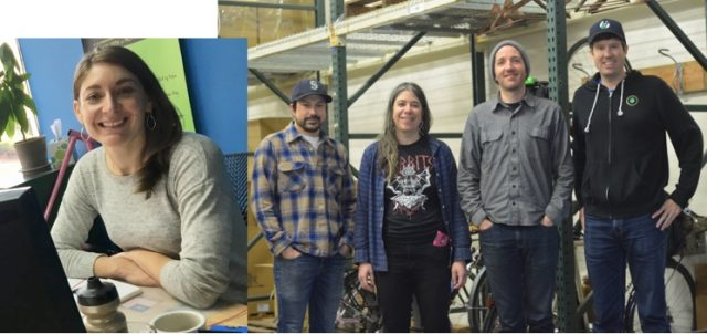 The Portland Design Works team: (L to R) Jocelyn Gaudi, marketing manager; Matt Cittadini, sales manager; Hazel Gross, office manager; Chris Smitherman, warehouse and customer service coordinator; Erik Olson, founder.(Photos: J. Maus & PDW)