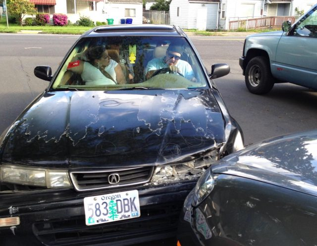 Schrantz shortly after crashing into a man's car in May 2014.(Photo: Sent in by the victim)