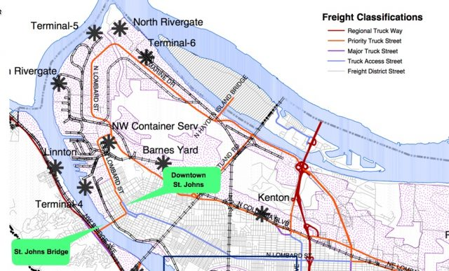 St. Johns is hemmed in by freight routes.(Map: PBOT, 2008)