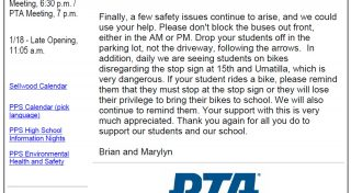 Excerpt from Sellwood Middle School newsletter, 11-30-2016