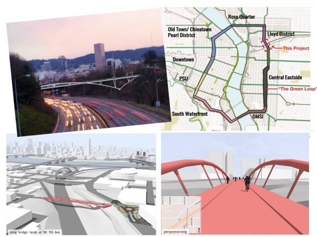 Renderings of the new bridge. (Map: KPFF; renderings by Fat Pencil Studio)