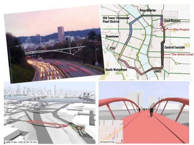 Renderings of the new bridge. (Map: KPFF; renderings by Fat Pencil Studio)