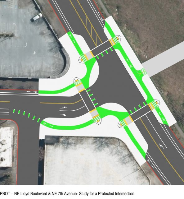 """This is the """"protected intersection"""" treatment PBOT wants to do on the north end of the bridge at the NE Lloyd and 7th Avenue intersection."""