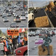 Deadly Division Street temporarily tamed with hay bales and homemade signs