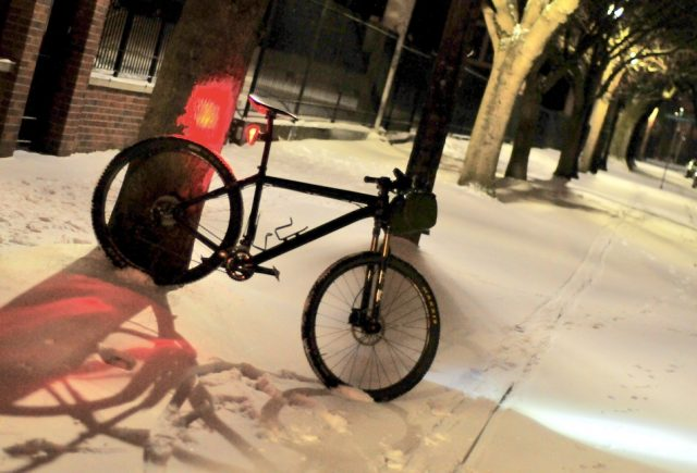 With the right bike these are prime conditions for cycling.(Photo: J. Maus/BikePortland)
