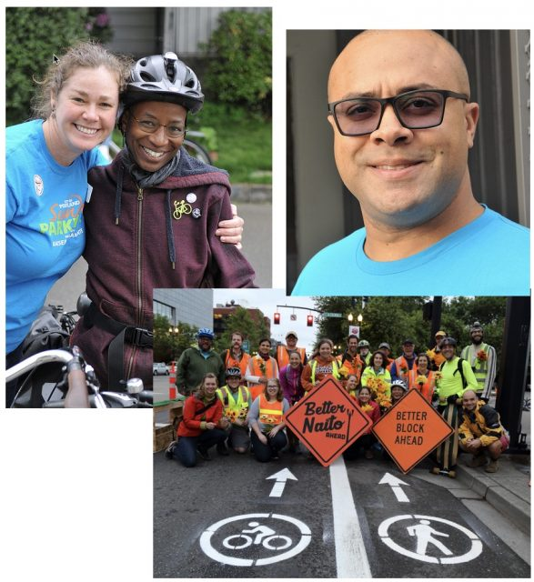 2016 winners include PBOT's Janis McDonald (lef), Community Cycling Center CEO Mychal Tetteh (right) and Better Block PDX.(Photos: J. Maus/BikePortland and Better Block)