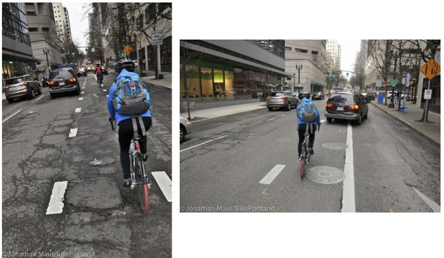 This bumpy and stressful block of Main will be much-improved by next year.(Photos: J. Maus/BikePortland)