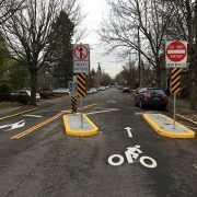 On SE Clinton, PBOT finishes permanent diverter and readies new 'bike-friendly' speed bumps