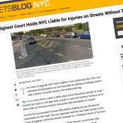New York's high court says city's unsafe street design makes them liable for injuries and deaths