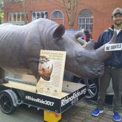 Today: Meet the man riding 2,000 miles with a 350-pound rhino (statue) named Lunar