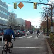 A protected bike lane is born: 'Better Naito' is being installed right now