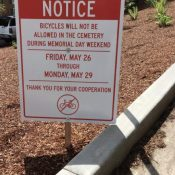 Disaster averted (for now) as most riders comply with cemetery biking ban