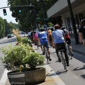 Time to design a permanent bikeway on NE Multnomah through the Lloyd District