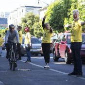 Half-hour 'human-protected bike lane' will rally support for permanent street improvements