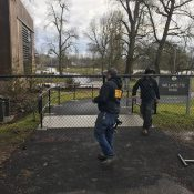 Fence abruptly closes access to Willamette Park path at Nevada St