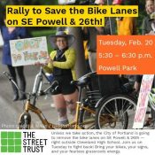 Advocates will rally to save bike lanes on SE 26th Avenue tonight