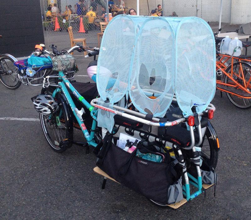 Hamper as canopy prototype on a longtail cargo bike.