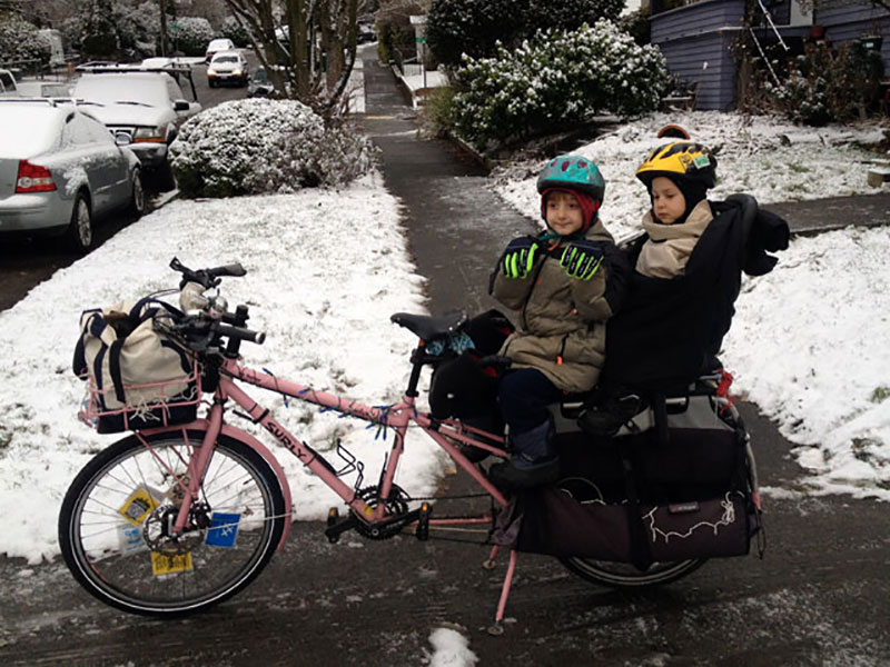Bundled-up bike passengers