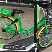 A test ride of LimeBike's dockless electric vehicles