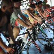 At C-Velo, the bike racing happens indoors