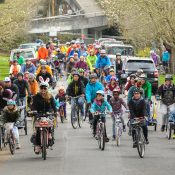 A big, all-ages turnout at annual Kidical Mass Easter ride