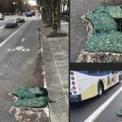 Bulky storm drain filter bags obstruct bike lanes